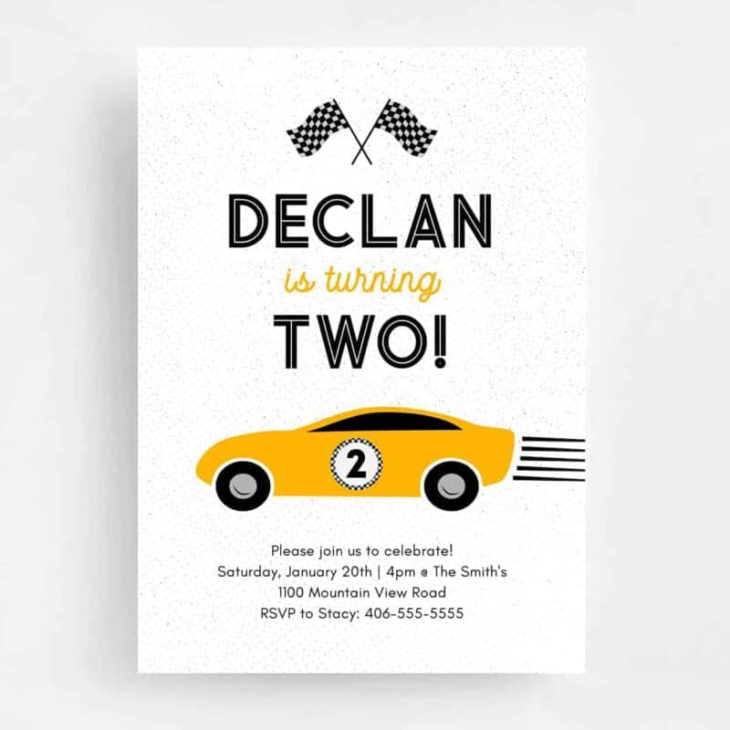 Race Car Birthday Invitation - Front
