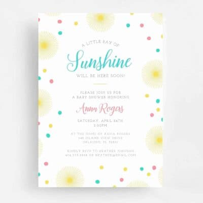 You Are My Sunshine Baby Shower Invitation - Front