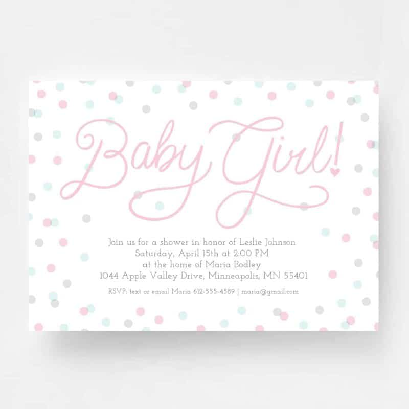 Sweet Baby Girl Baby Shower Invitation - Front