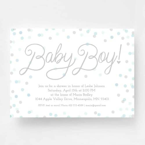 Sweet Baby Boy Baby Shower Invitation - Front