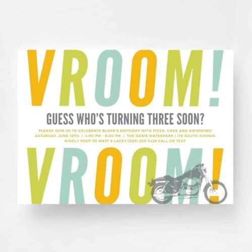 Vroom Vroom Motorcycle Birthday Invitation - Front