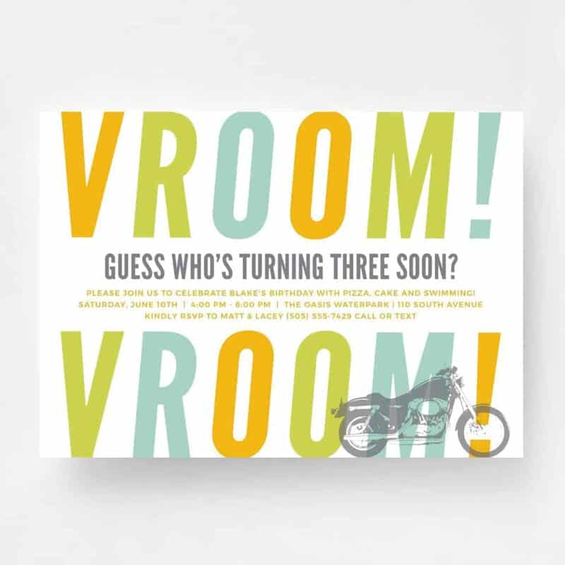 Vroom Vroom Motorcycle Birthday Invitation - Front