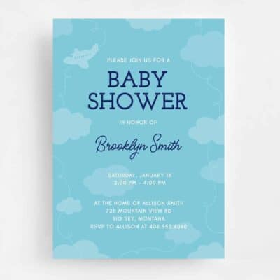 Airplanes and Big Dreams Baby Shower Invitation - Front