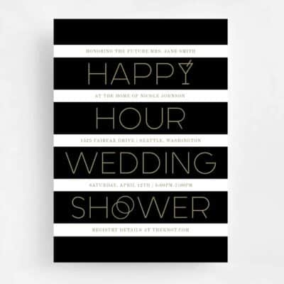Happy Hour Wedding Shower Front - Black and Gold