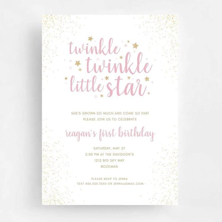 Twinkle Twinkle Little Star Birthday Invitation - Front