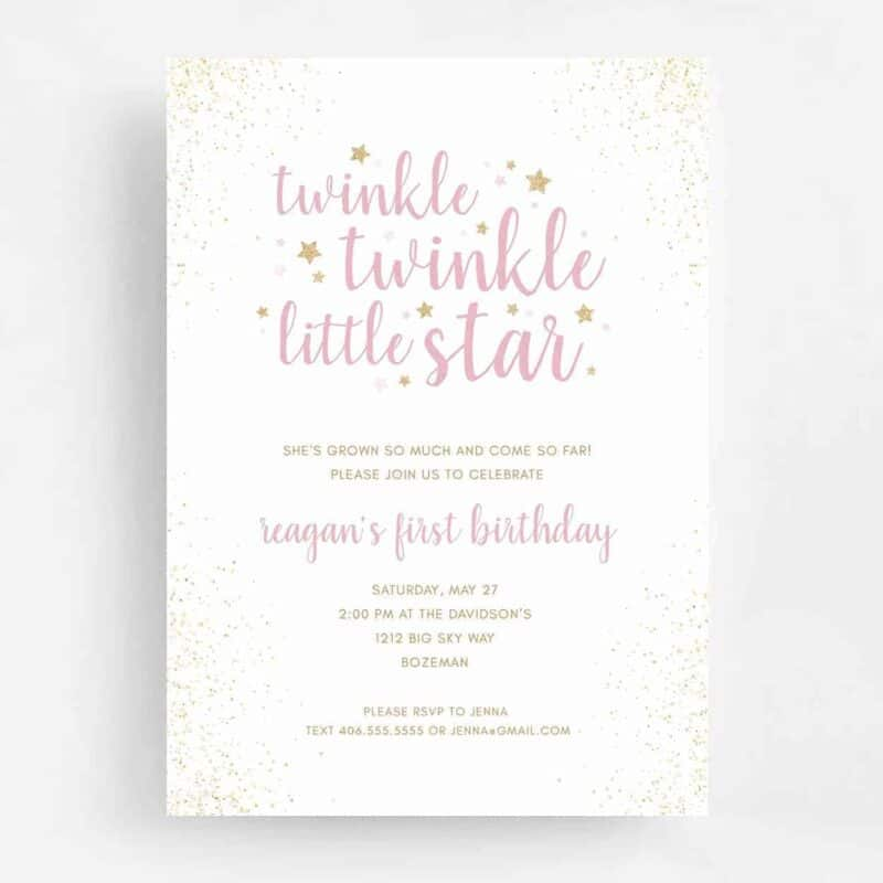 Twinkle Twinkle Little Star Birthday Invitation - Front