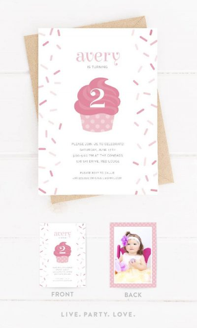 Cupcake & Sprinkles Birthday Invitation Front and Back