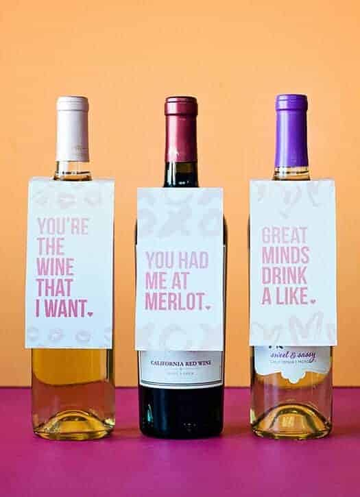 Printable Valentine's Wine Bottle Tags