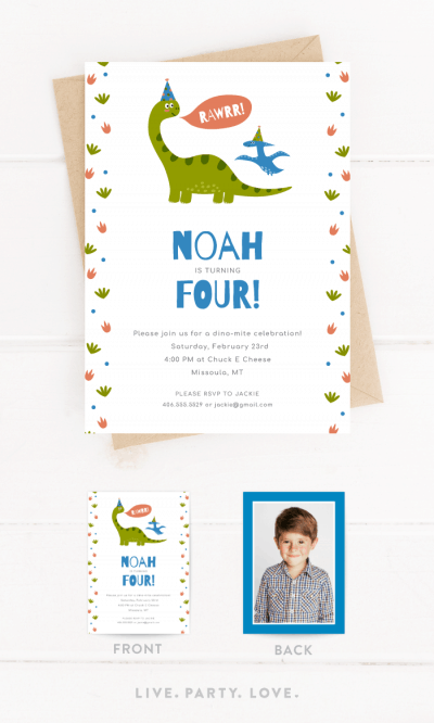 Rawrr Dinosaur Birthday Invitation
