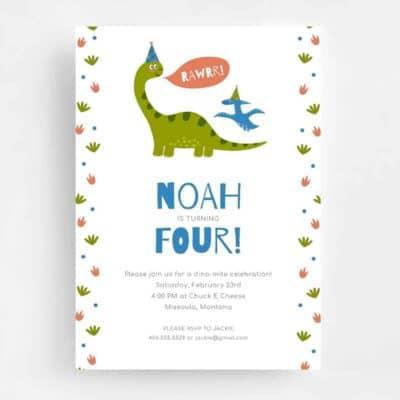 Rawrr Dinosaur Birthday Invitation - Front