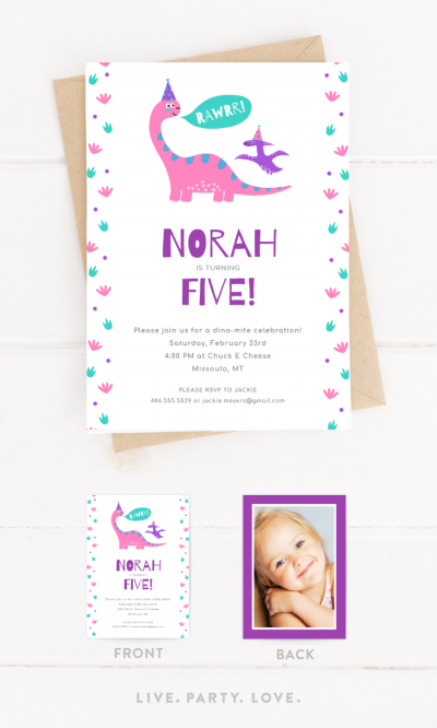 Pink and Purple Dinosaur Birthday Invitation with Envelope