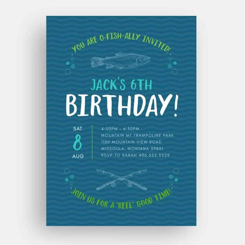 Fishing Birthday Invitation Front