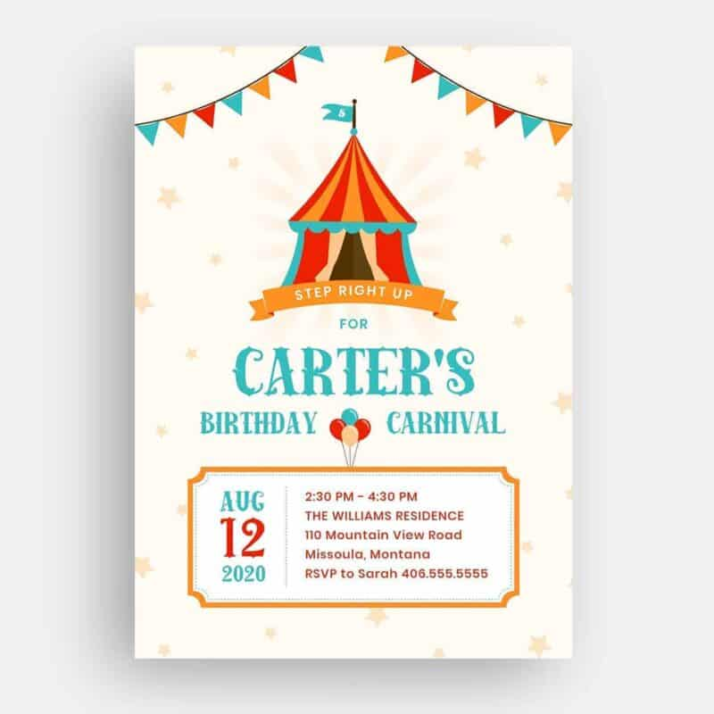 Carnival Birthday Invitation Front
