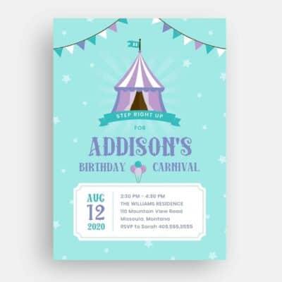 Carnival Birthday Invitation Front