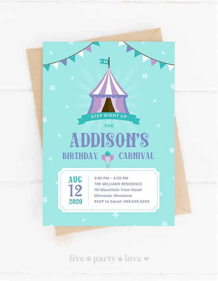 Carnival Birthday Invitation Mockup - Front